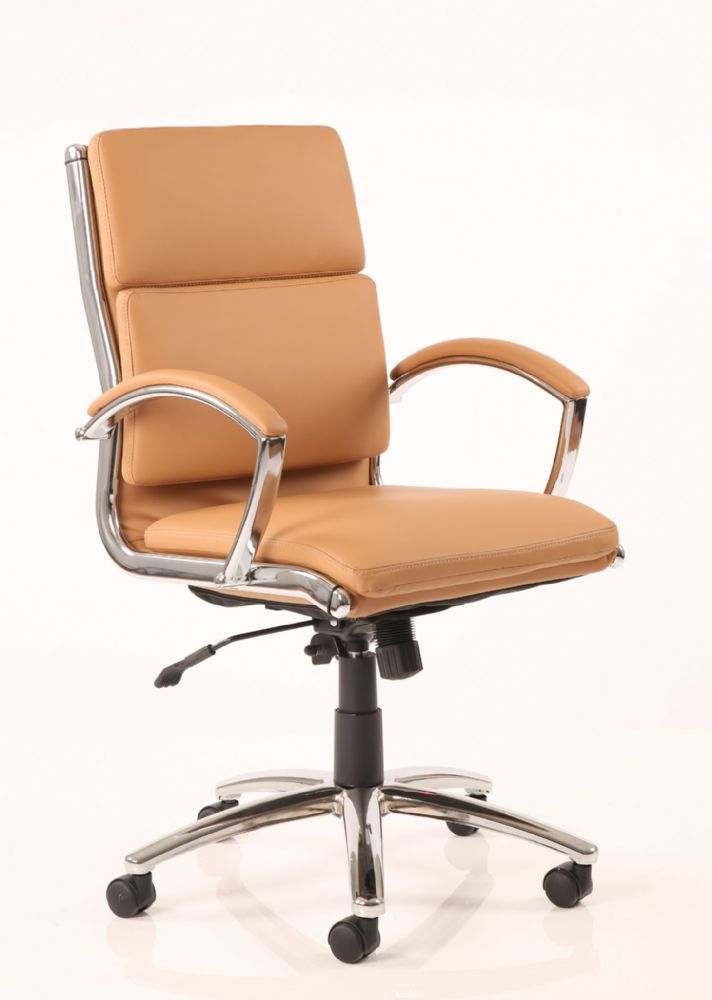 Classic Executive Chair Medium Backrest Soft Padded Seat and Backrest Fixed Arms Various Leathers